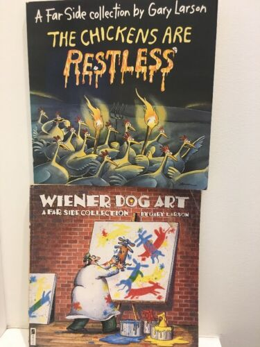 The Chickens r Restless A Far Side Collection Gary Larson 1993 & Wiener dog art