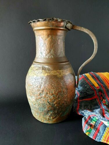 Old Turkish Large Copper Pitcher …beautiful accent & collection piece