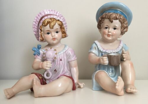 Pair VICTORIAN 1900's Porcelain China GIRL & BOY Piano FIGURINES Excellent Cond