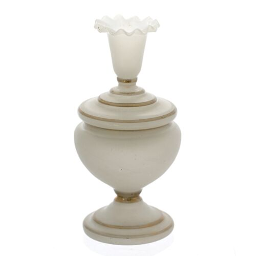 """8""""h Antique Victorian BRISTOL opaque milk glass lidded jar or footed box"""