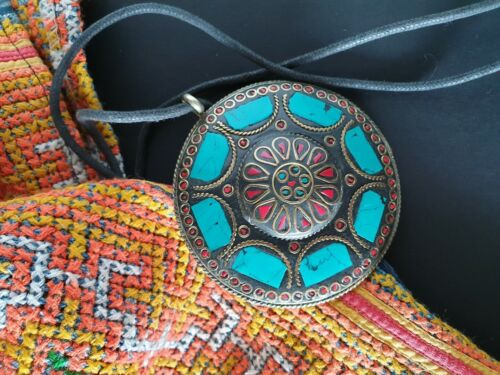 Old Tibetan Inlaid Brass Necklace on Heavy Black Cord with Local Stones...