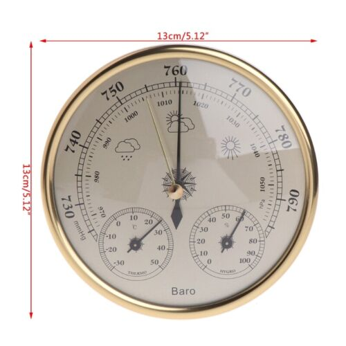 130mm diameter Barometer Thermometer Hygrometer High Accuracy  gold colour
