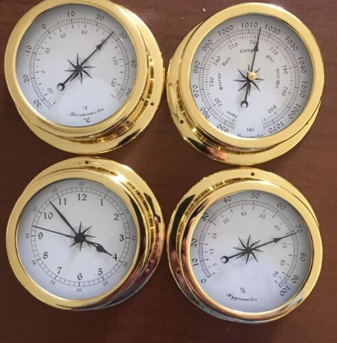 Weather Station 4 pcs/set 145mm Brass Barometer /Thermometer/ Hygrometer /Clock