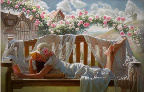 Oil painting young girl reading book On the bench Leisure time with spring plant
