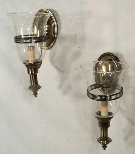 PAIR OF MID CENTURY MODERN CLASSICAL REGENCY BRASS SCONCES WITH HURRICANE SHADES