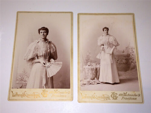 Pair of Antique Victorian Cabinet Photos of Beautiful Fashion Woman, Lovely Fan!
