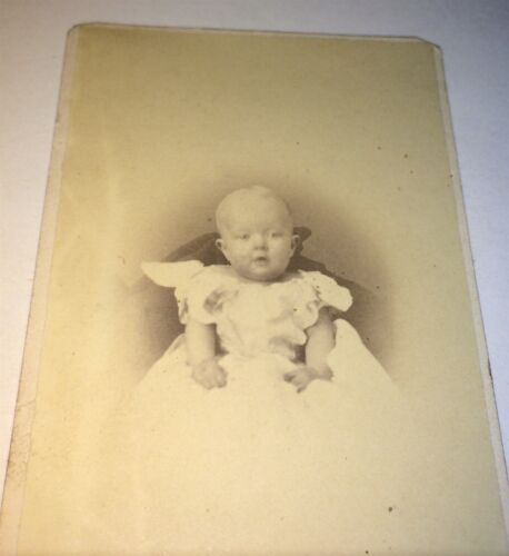 Antique Cute Victorian American Child, Chubby Cheeks! White Fashion CDV Photo!