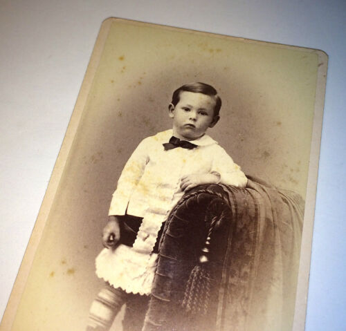 Antique Victorian Fashion Young Little Boy, Sour Face, Westboro MA Old CDV Photo