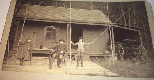 Rare Antique Victorian American Outdoor Sportsman & Kids! Fishing Cabinet Photo!