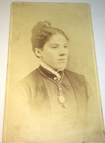Antique Victorian American ID'd Woman, Locket Necklace! Jewelry! NY CDV Photo!