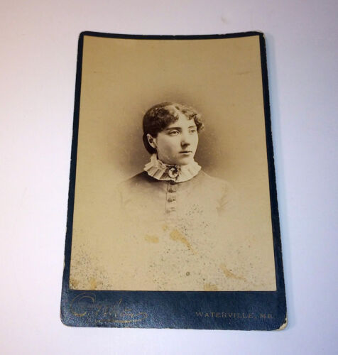 Antique Cabinet Photo of Beautiful Woman W/ Fancy Cameo Painted Brooch! Maine!