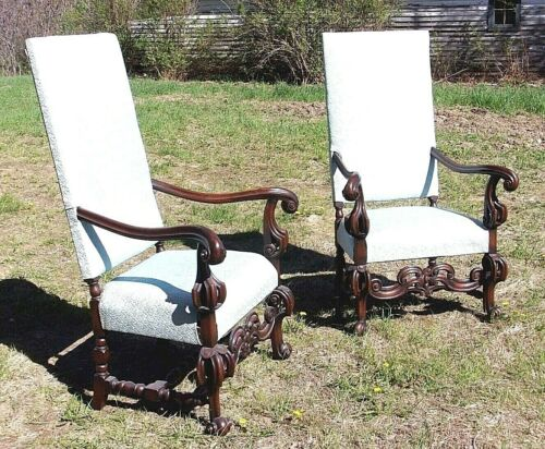 ANTIQUE PAIR OF 19th CENTURY JACOBEAN HIGH BACK WALNUT UPHOLSTERED ARMCHAIRS