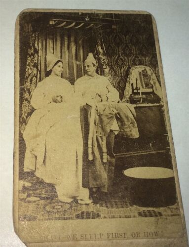Rare Antique Victorian Fashion Couple In Bed! Sleep First, or How. CDV Photo!