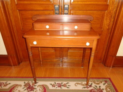 Antique Sheraton Softwood Step-back Table Stand with Three Drawers, Wood