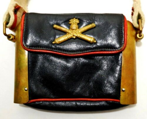 VINT HANDMADE SIGNED LATINAS (ITALY) LEATHER/BRASS SHOULDER BAG, W/COAT OF ARMS