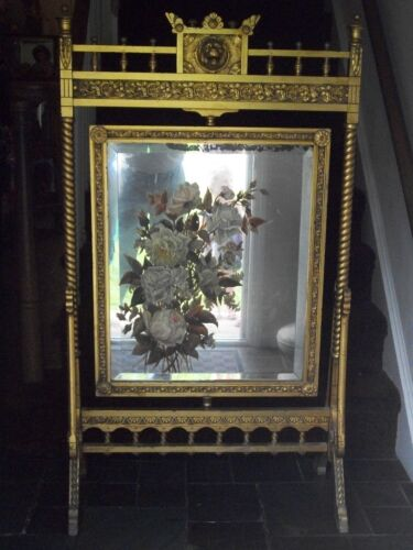 antique mirror Fireplace hand painted screen, Antique.gold wood frame 1800's
