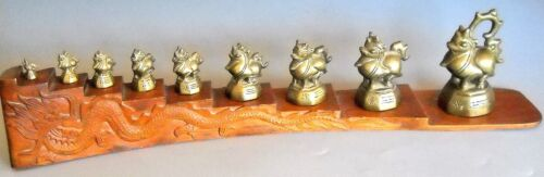 Burmese Opium Weights Mythical  Singh (Lion) Set of 9 Wood Display Reproduction