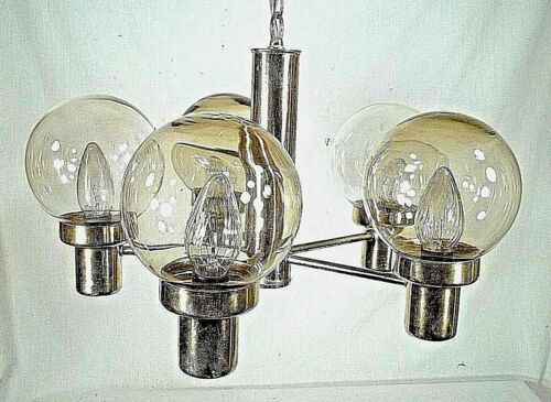 MID CENTURY MODERN 5 LIGHT BRASS CHANDELIER WITH TINTED GLASS GLOBES