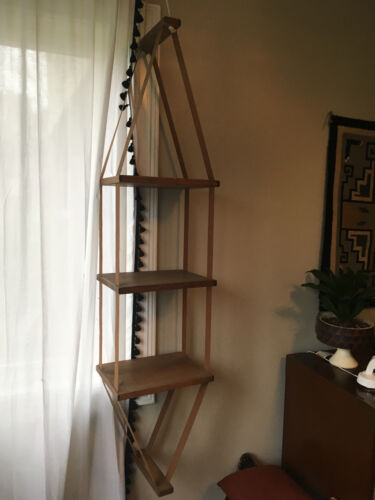 Vintage Mid Century Modern Wood And Fabric Straps Hanging Shelf