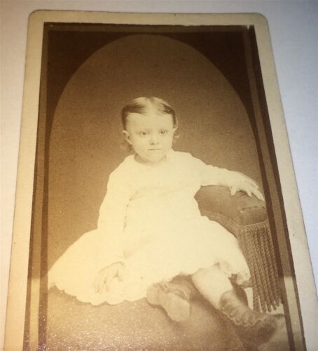 Antique Adorable Victorian American Child, Seated Chair Portrait! PA CDV Photo!
