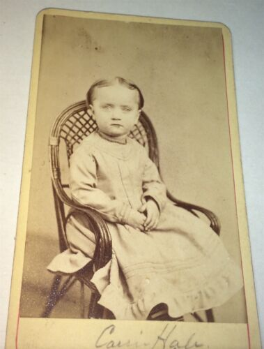 Rare Antique Victorian American Fashion ID'd Little Girl! Carrie Hale CDV Photo!