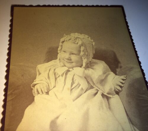 Rare Antique Victorian American Smiling Child! ID'd & Adopted! MA Cabinet Photo!