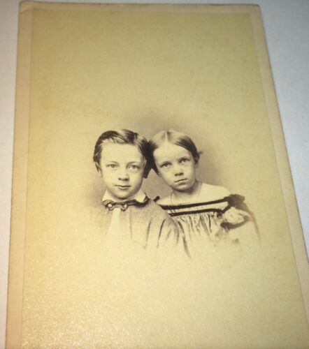 Antique Adorable Victorian American Fashion Siblings! Cincinnati, OH CDV Photo!