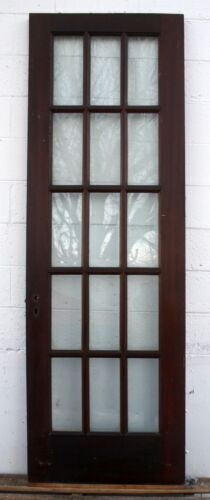 "29.5""x87""x1.75"" Antique Vintage SOLID Wood Wooden French Door Window Wavy Glass"