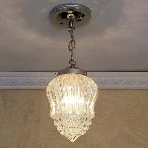 253b Vintage Ceiling Light Lamp Fixture Glass Fixture Porch Hall Bath 1 of 2