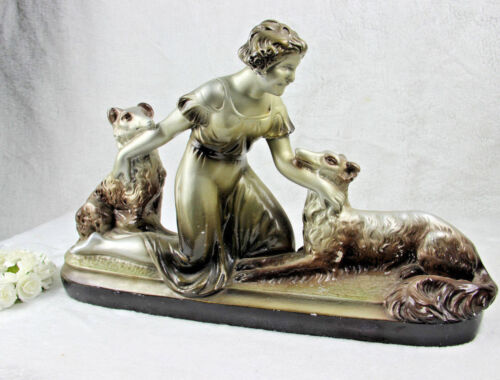 ART DECO Belgian chalkware lady with dogs sculpture statue 1930