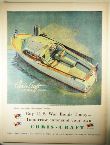 Vintage 1944 CHRIS CRAFT MOTORBOAT Full-Page Magazine Print Ad: SPEED VICTORY