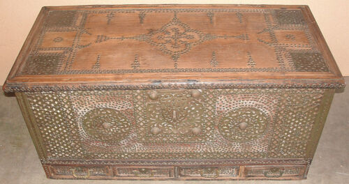 Antique Pierced Brass Large Anglo Indian Zanzibar Trunk Chest 1875 W Secret Comp