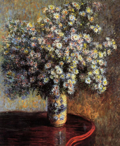 Oil painting Claude Monet - Asters nice spring flowers in vase on table canvas
