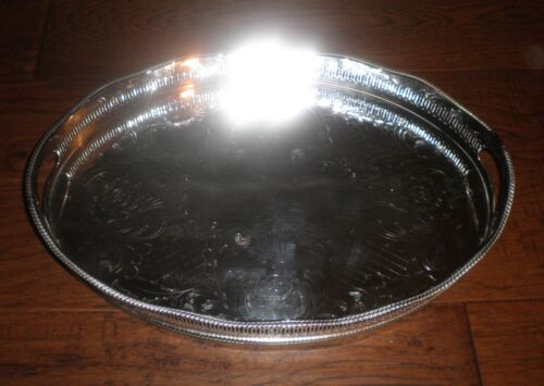 Stunning Cheltenham Silver Co. Made in England Silver-plate Butler Serving Tray