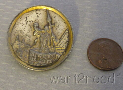 "antique SENTINEL KRAKOW PICTURE BUTTON large 1-3/8"" metal guard with horn scene"