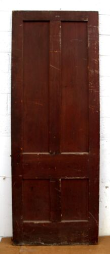 "32""x90"" Antique Vintage Victorian Wood Wooden Interior Door Flat Recessed Panels"