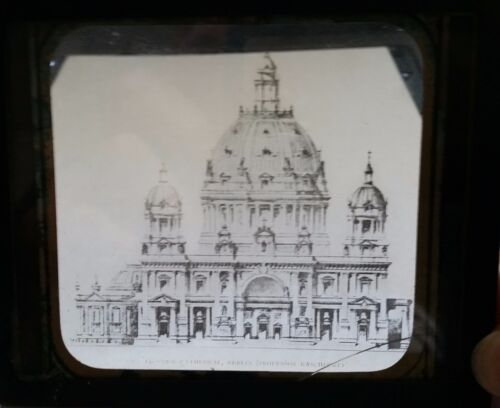 Berlin Cathedral (Dom) Germany Lantern Glass Double Action Slip Slide 1890 's!