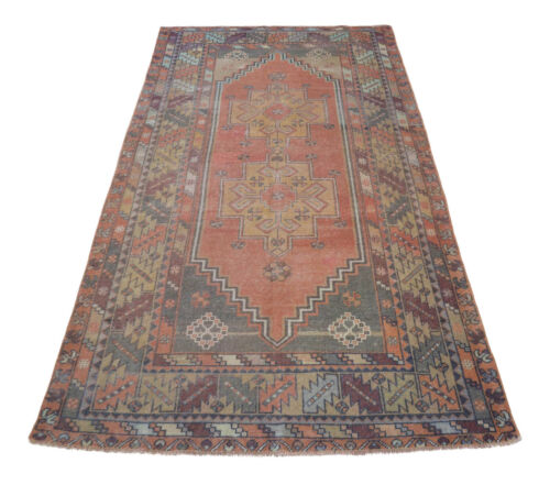 Vintage Distressed Rug Hand Knotted Low Pile Turkish Oushak Rug 3'11'' x 7'8''