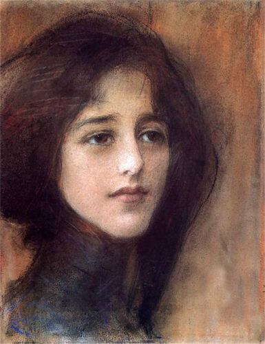 Oil painting Teodor Axentowicz - Portrait of a Woman Portret kobiety on canvas