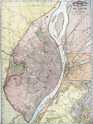 1895 Map of St. Louis Rand McNally & Co Color Litho Engraving Large Doublepage