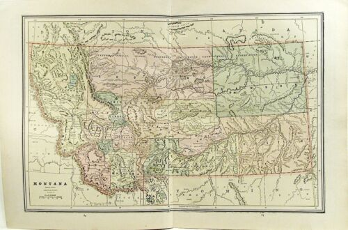c 1890 Map of Montana + Idaho & Washington by Cram ~ Color Lithograph Engraving