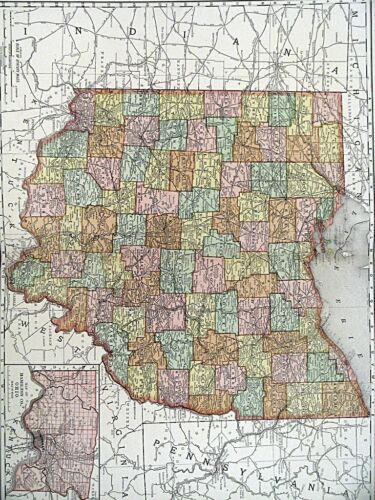 1895 Map of Ohio Rand McNally & Co Color Lithograph Engraving Large Doublepage