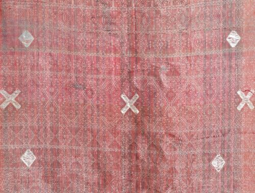 EARLY ANTIQUE INDONESIAN KAIN LIMAR SARONG SHAWL CLOTH METAL TEXTILE