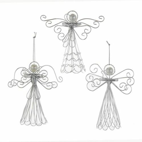KURT ADLER SET OF 3 SILVER METAL WIRE ANGELS w/PEARL HEAD CHRISTMAS ORNAMENTS