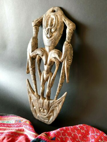 Old Papua New Guinea Carved Wooden Food Hook with Cowrie Shell & Carved Birds...