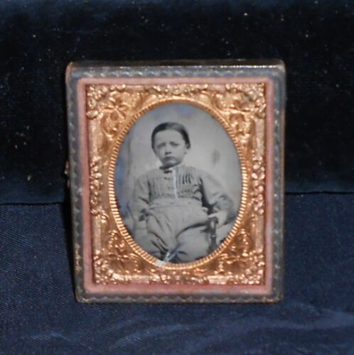 """DAGUERREOTYPE, 2 1/2""""x3"""" YOUNG BOY W/NAME; 1/2 GOLD FILIGREE LEATHER CASE, COOL!"""