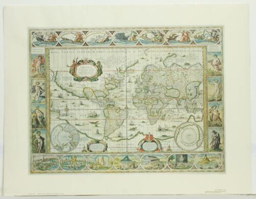 Vintage The World in 1635 Willem Janszoon Blaeu Engraving Facsimile Art Map