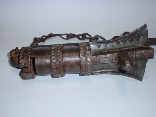"""Highly decorated Museum Quality Antique Tibetan Temple Iron Stupa Lock  13 1/2"""""""