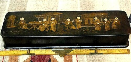 Chinese Qing Dynasty Hand-painted 8 Immortals Wooden Lacquered Box WOW!