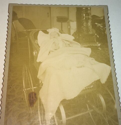 Antique Victorian American Baby in Carriage! Elaborate Stove! NY Cabinet Photo!